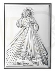 Ryngraf z powłoką srebra wizerunek Jezusa Miłosiernego VL80001/3L - ok. 13 cm \ ok. 9 cm - 2842307802