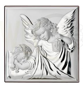 Ryngraf z powłoką srebra Anioł z Dzieckiem VL81200/4L - ok. 12 cm \ ok. 12 cm - 2842307817