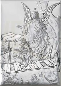 Ryngraf z powłoką srebra Anioł z Dzieckiem VL81202/1L - ok. 7 cm \ ok. 5 cm - 2842307819