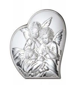Ryngraf z powłoką srebra Anioł z Dzieckiem VL81223/1L - ok. 8,5 cm \ ok. 6 cm - 2842307824