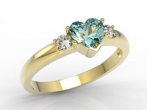 Pierścionek z żółtego złota z niebieskim topazem w kształcie serca i cyrkoniami JP-90Z-C - 2844107949