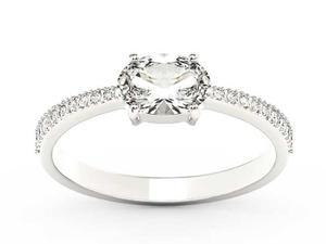Pierścionek z białego złota z białym szafirem i diamentami BP-58B - Szafir White \ Białe - 2847028732