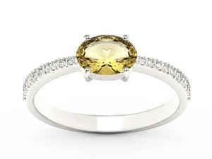 Pierścionek z białego złota z cytrynem i diamentami BP-58B - Cytryn \ Białe - 2847028733