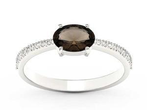 Pierścionek z białego złota z kwarcem dymnym i diamentami BP-58B - Kwarc dymny \ Białe - 2847028735