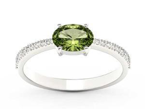 Pierścionek z białego złota z oliwinem i diamentami BP-58B - Oliwin \ Białe - 2847028736
