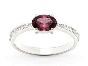 Pierścionek z białego złota z rubinem i diamentami BP-58B - Rubin \ Białe - 2847028737