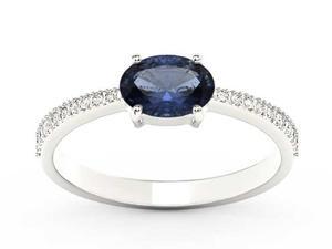Pierścionek z białego złota z szafirem i diamentami BP-58B - Szafir \ Białe - 2847028738