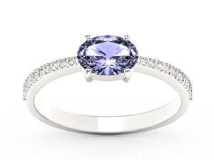 Pierścionek z białego złota z tanzanitem i diamentami BP-58B - Tanzanit \ Białe - 2847028740