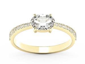 Pierścionek z żółtego złota z białym szafirem i diamentami BP-58Z-R - Szafir White    Sapphire white \ Żółte z rodowaniem - 2847028741