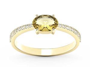 Pierścionek z żółtego złota z cytrynem i diamentami BP-58Z-R - Cytryn \ Żółte z rodowaniem - 2847028742