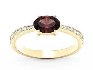 Pierścionek z żółtego złota z granatem i diamentami BP-58Z-R - Granat \ Żółte z rodowaniem - 2847028743