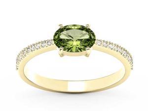 Pierścionek z żółtego złota z oliwinem i diamentami BP-58Z-R - Oliwin \ Żółte z rodowaniem - 2847028745
