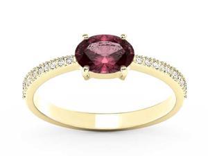 Pierścionek z żółtego złota z rubinem i diamentami BP-58Z-R - Rubin \ Żółte z rodowaniem - 2847028746