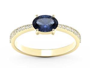Pierścionek z żółtego złota z szafirem i diamentami BP-58Z-R - Szafir \ Żółte z rodowaniem - 2847028747