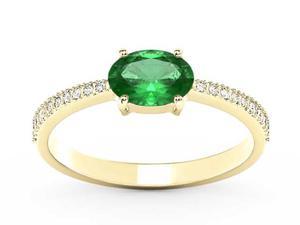 Pierścionek z żółtego złota ze szmaragdem i diamentami BP-58Z-R - Szmaragd \ Żółte z rodowaniem - 2847028748