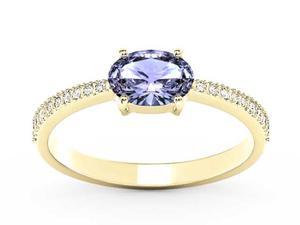 Pierścionek z żółtego złota z tanzanitem i diamentami BP-58Z-R - Tanzanit \ Żółte z rodowaniem - 2847028749