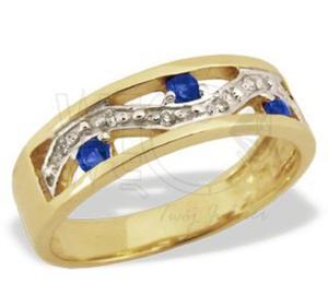 Pierścionek ze złota JP-31Z-R z szafirami i diamentami. - 2824314473