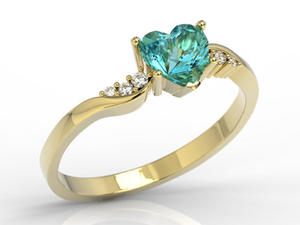 Pierścionek z żółtego złota z topazem Swarovski Blue i brylantami LP-70Z - 2847028755