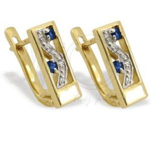Kolczyki ze złota JPK-31Z-R z szafirami i diamentami. - 2824314474