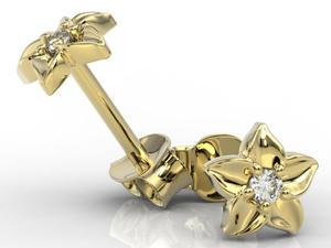 Kolczyki w formie kwiatu z żółtego złota i z cyrkoniami BPK-15Z-C - 2853346034