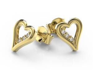 Kolczyki z żółtego złota z brylantami LPK-41Z - 2857029808
