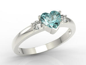 Pierścionek z białego złota z niebieskim topazem w kształcie serca i diamentami JP-90B - 2824314494