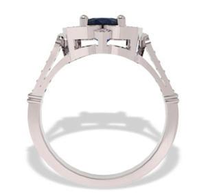Pierścionek z białego złota z szafirem i diamentami JP-99B - 2824314500
