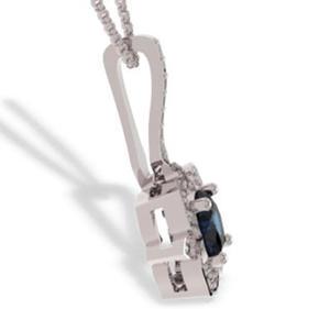 Wisiorek z białego złota z szafirem i diamentami JPW-99B - 2824314506