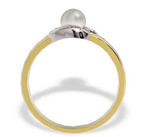 Pierścionek z białą perłą i diamentami LP-13ZB - 2824314510