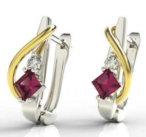 Kolczyki z białego i żółtego złota z rubinem i diamentami LPK-32BZ - 2824314523