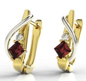 Kolczyki z żółtego i białego złota z granatami i diamentami LPK-32ZB - 2824314526