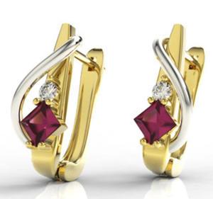 Kolczyki z żółtego i białego złota z rubinem i diamentami LPK-32ZB - 2824314527