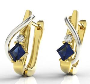 Kolczyki z żółtego i białego złota z szafirem i diamentami LPK-32ZB - 2824314528
