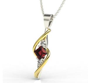 Wisiorek z białego i żółtego złota z granatem i diamentami LPW-32BZ - 2824314530