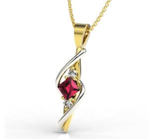 Wisiorek z żółtego i białego złota z rubinem i diamentami LPW-32ZB - 2824314535