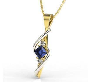 Wisiorek z żółtego i białego złota z szafirem i diamentami LPW-32ZB - 2824314536
