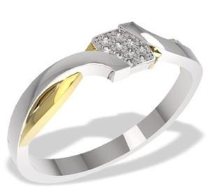 Pierścionek z białego i żółtego złota z diamentami 0,05 ct wzór LP-37BZ - 2824314538