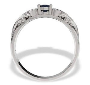 Pierścionek z białego złota z szafirem i diamentami LP-38B - 2824314539