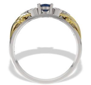 Pierścionek z białego i żółtego złota z szafirem i diamentami LP-38BZ - 2824314543