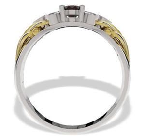 Pierścionek z białego i żółtego złota z granatem i diamentami LP-38BZ - 2824314544