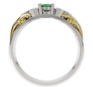 Pierścionek z białego i żółtego złota ze szmaragdem i diamentami LP-38BZ - 2824314546