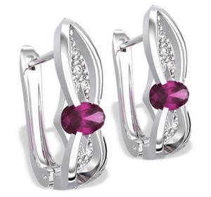 Kolczyki z białego złota z rubinami i diamentami LPK-39B - 2824314570