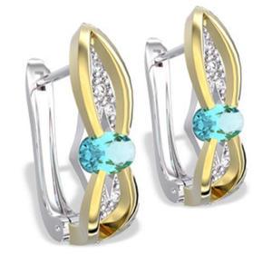 Kolczyki z białego i żółtego złota z topazami i diamentami LPK-39BZ - Białe i żółte \ Topaz - 2824314574