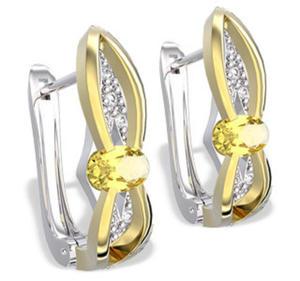 Kolczyki z białego i żółtego złota z cytrynami i diamentami LPK-39BZ - 2824314576