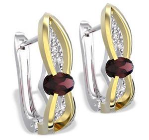 Kolczyki z białego i żółtego złota z granatami i diamentami LPK-39BZ - 2824314577