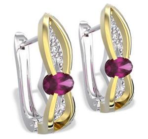 Kolczyki z białego i żółtego złota z rubinami i diamentami LPK-39BZ - 2824314578