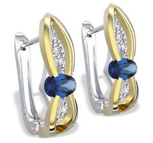 Kolczyki z białego i żółtego złota z szafirami i diamentami LPK-39BZ - 2824314579