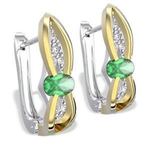 Kolczyki z białego i żółtego złota ze szmaragdami i diamentami LPK-39BZ - 2824314580