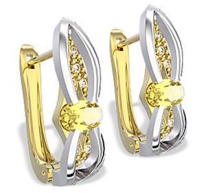 Kolczyki z żółtego i białego złota z cytrynami i diamentami LPK-39ZB - 2824314582