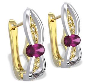 Kolczyki z żółtego i białego złota z rubinami i diamentami LPK-39ZB - 2824314584